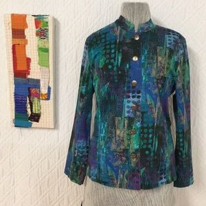 Chico's Sz 2/Med Summer Unlined Abstract Jacket